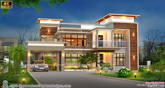 flat roof style house contemporary style