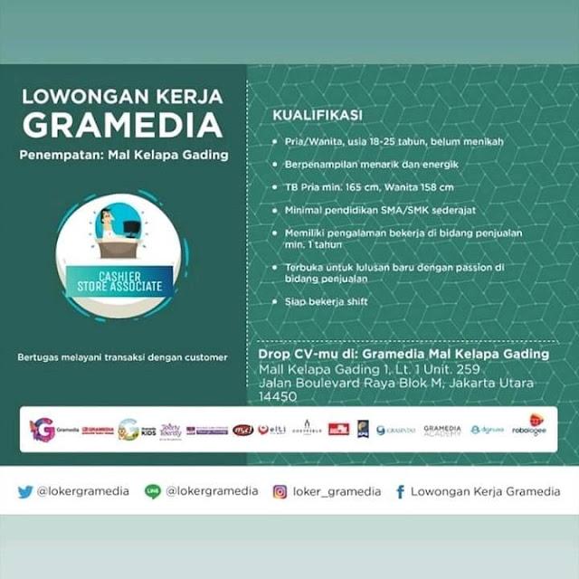 Cashier Store Associate Gramedia Mal Kelapa Gading Dan Grand Cibubur Juni 2019 Serangid