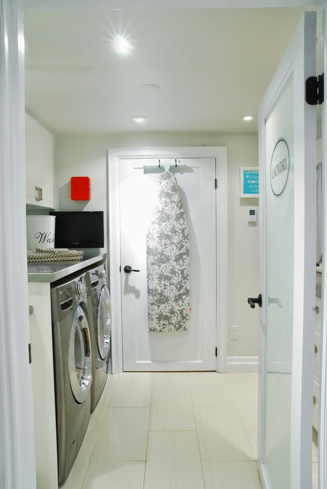 Rambling Renovators | white black laundry room galley