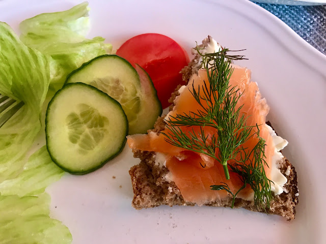 Finnish open rye sourdough sandwich with smoked salmon