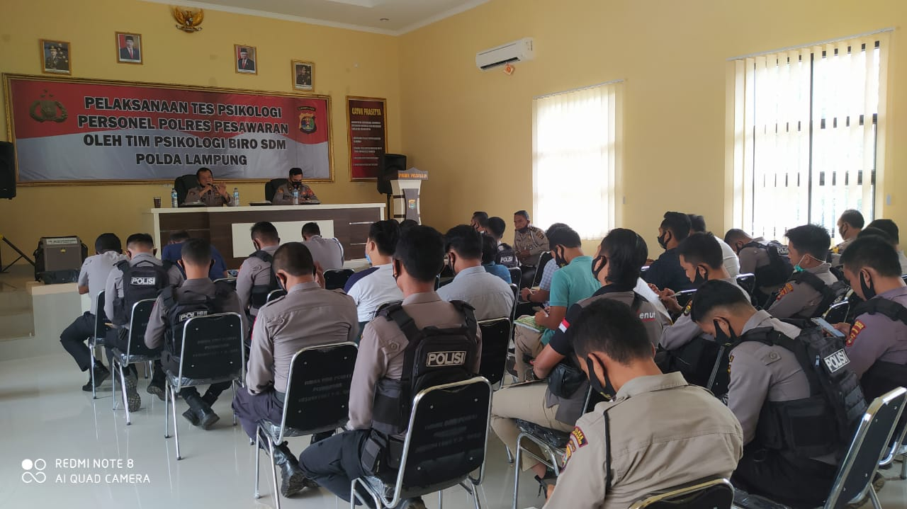 56 Personil Polres Pesawaran mengikuti kegiatan Pelaksanaan Tes Psikologi