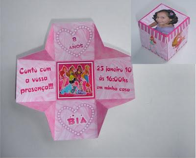 convite personalizado na caixinha das princesas