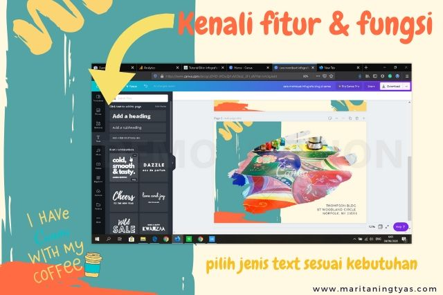cara membuat infografis blog pilih text canva pilih font dan jenis heading