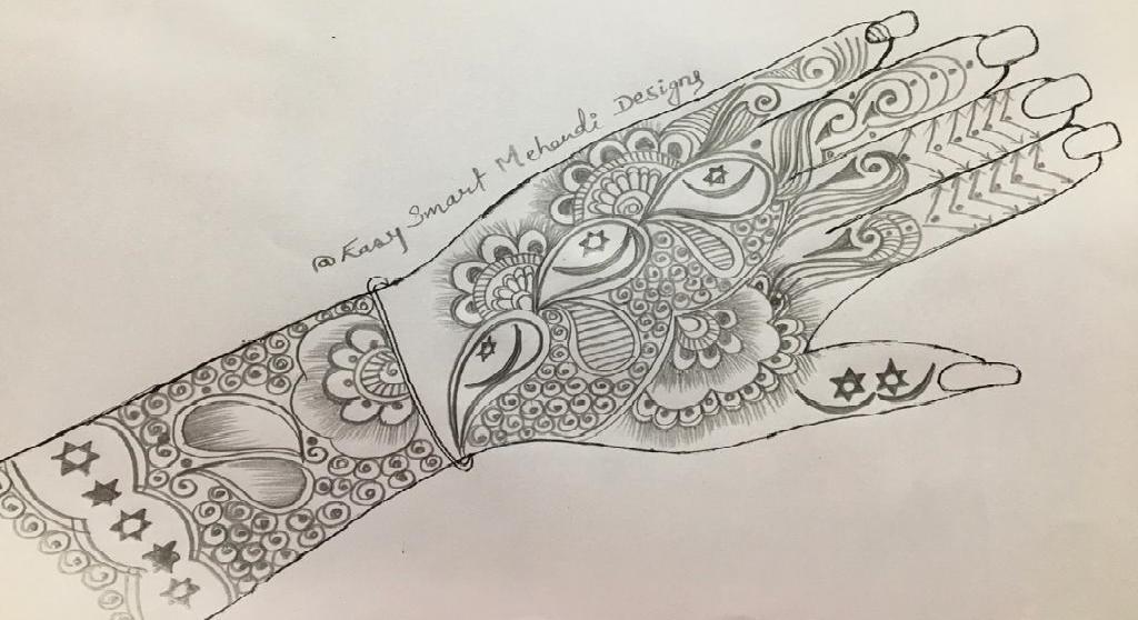 arabic pencil mehndi design