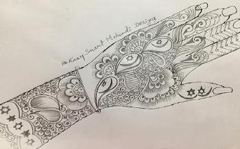 Beautiful Star and Moon Arabic Mehndi Design | Pencil Drawing and Shading | 2020