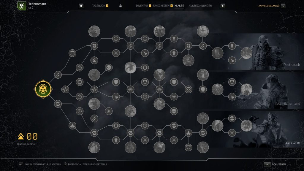 These are the subclasses and the skill tree of the technomancer