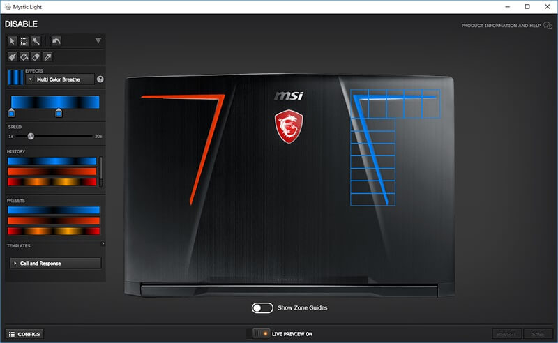 MSI GE73 Raider 8RF Mystic Light Config
