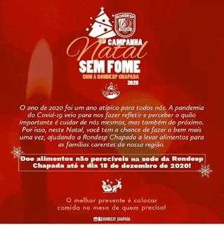 Rondesp Chapada inicia campanha Natal Sem Fome