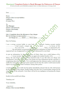 letter to bank manager for dishonour of cheque