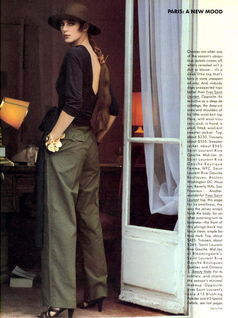 Yves Saint Laurent in Vogue US 1986 (photography: Denis Piel) via www.fashionedbylove.co.uk