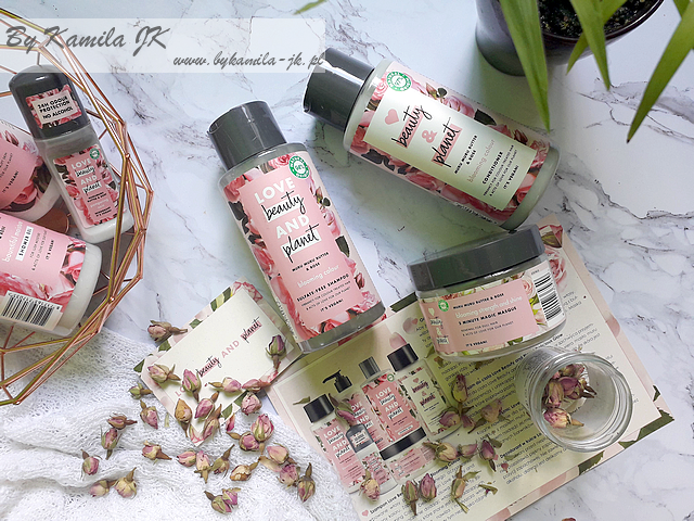 Love Beauty And Planet szampon odżywka maska róża masło muru muru