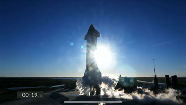 Starship SN8 on the launch pad with T - 19 seconds to go.  (Source: SpaceX)
