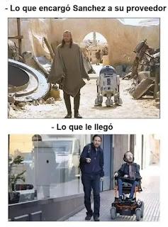 Caballero Jedi con r2d2 vs Pablo Iglesias y Echenique
