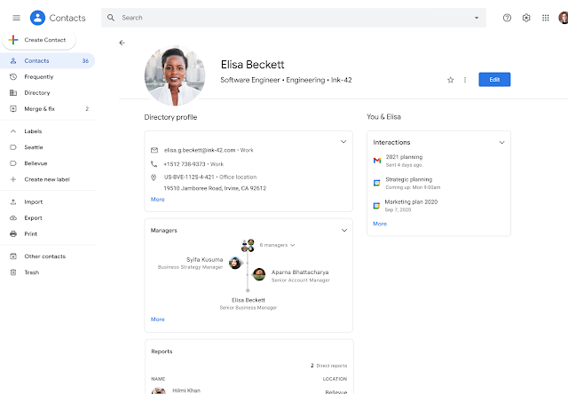 A new Google Contacts experience provides richer information about your colleagues and stakeholders 1