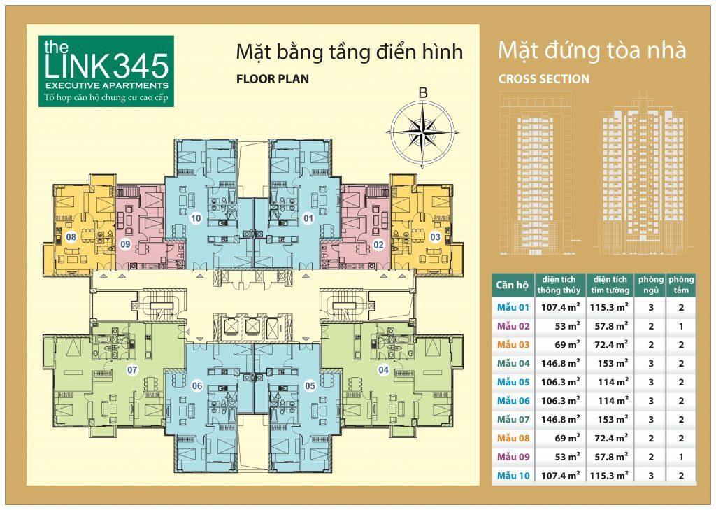 Mặt bằng căn hộ cao cấp The Link 345 Ciputra
