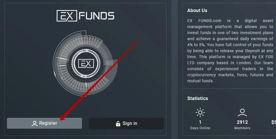 Регистрация в Ex Funds
