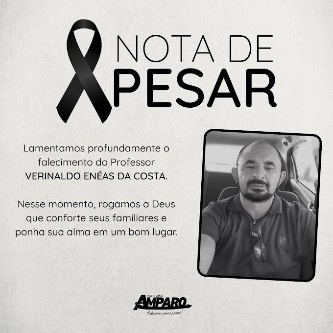 Prefeitura de Amparo publica nota de pesar e decreta luto oficial de três dias em virtude da morte do professor e ex-vice-prefeito Verinaldo Enéas da Costa