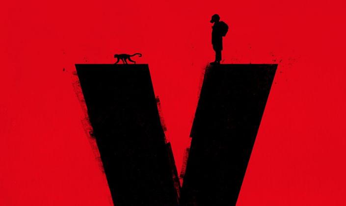 Imagem: fundo vermelho com uma enorme letra Y em preto, e em cima de um dos braços do Y temos a silhueta de um pequeno macaco e na outra de um homem em um traje e uma máscara de gás.