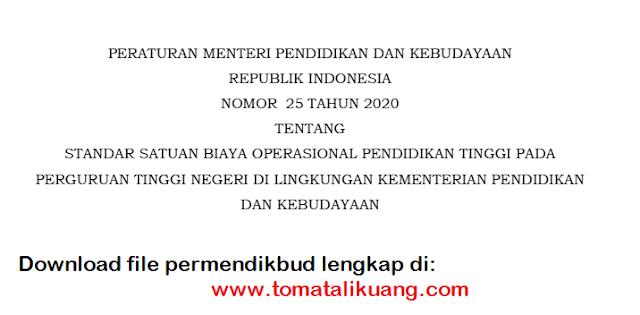 permendikbud nomor 25 tahun 2020 tentang standar satuan biaya operasional pendidikan tinggi (pt) pada perguruan tinggi negeri (ptn) di lingkungan kementerian pendidikan dan kebudayaan pdf tomatalikuang.com