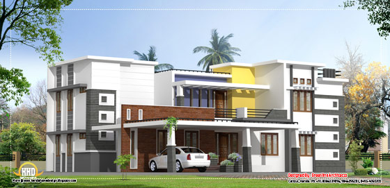Modern contemporary luxury home design - 3300 Sq. Ft. (307 Sq. M.) (367 Square Yards) - March 2012