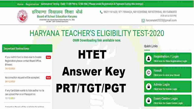 HTET 2020 PRT/TGT/ PGT Answer Key