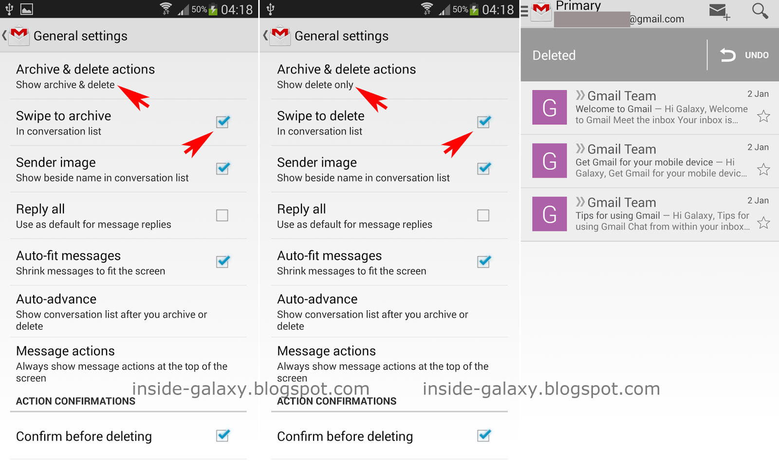 Samsung Galaxy S4: How to Make Swiping Archive or Delete in