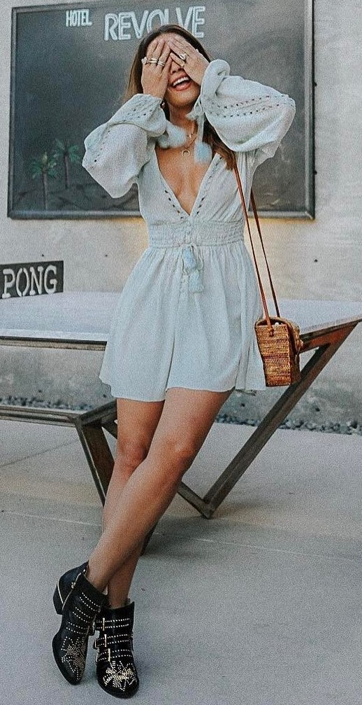 cute boho style: dress + boots