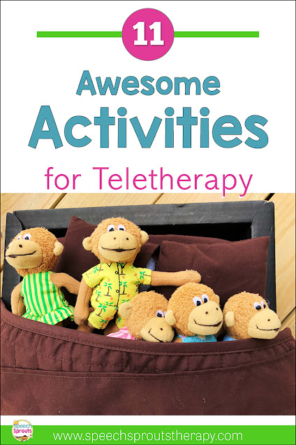 11 Awesome activities to make your speech teletherapy sessions online exciting! Use stuffed animals and puppets like this Five Little Monkeys set in preschool speech therapy. Read the post for more speech and language ideas. #speechsprouts #speechtherapy #teletherapy