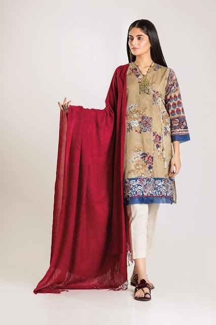 khaadi winter unstitched beige color shirt with shawl dress