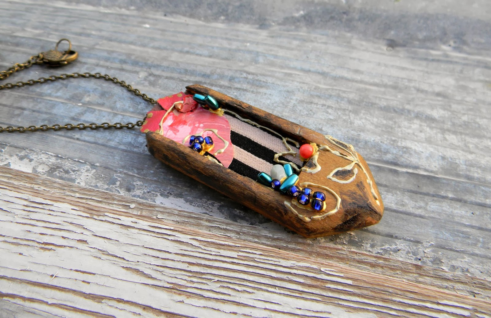 Steampunk Collage Necklace Wooden Pendant Abstract Jewelry Fashion Necklace