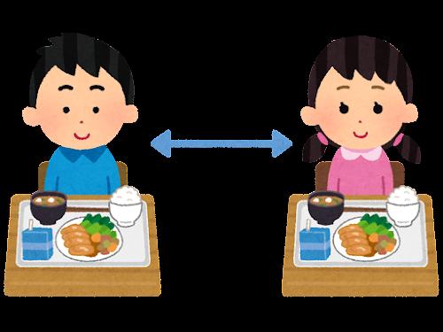 離れて給食を食べる子供のイラスト
