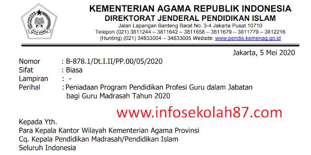 Surat Edaran Tentang Peniadaan Program PPG Dalam Jabatan Bagi Guru Madrasah Tahun 2020