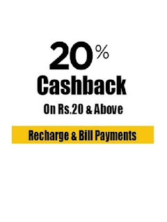 Mobikwik Recharge Offer Get Rs. 20 cashback on minimum recharge of Rs. 20