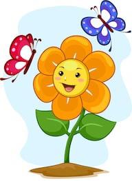 kartun bunga dan kupu-kupu