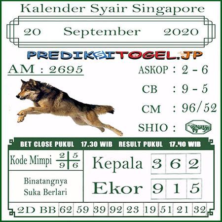 Kalender Prediksi SGP Minggu 20 September 2020