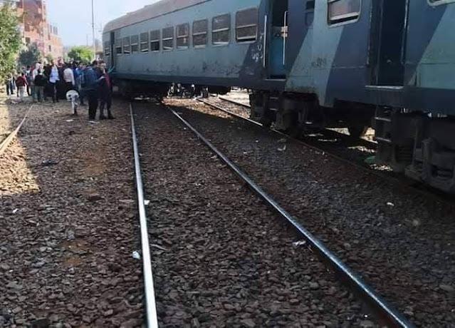 خروج القطار 544 عن القصبان   بمحطه منوف بالمنوفيه