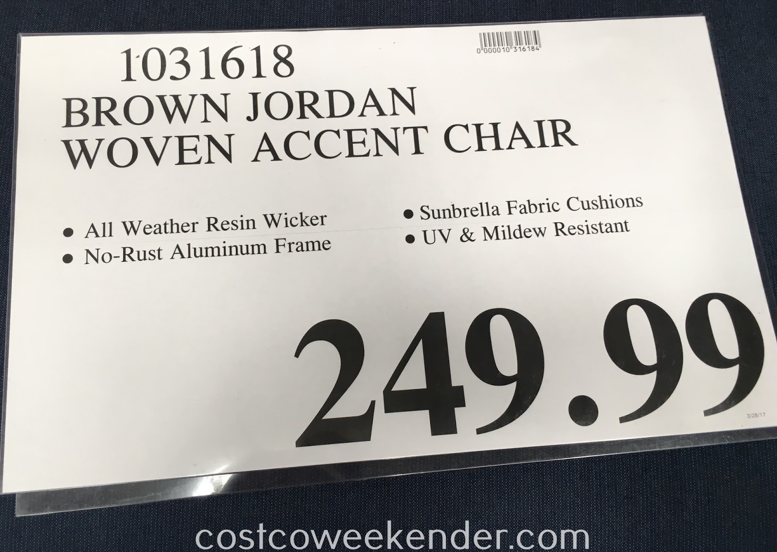 Deal for the Brown Jordan Woven Accent Chair at Costco
