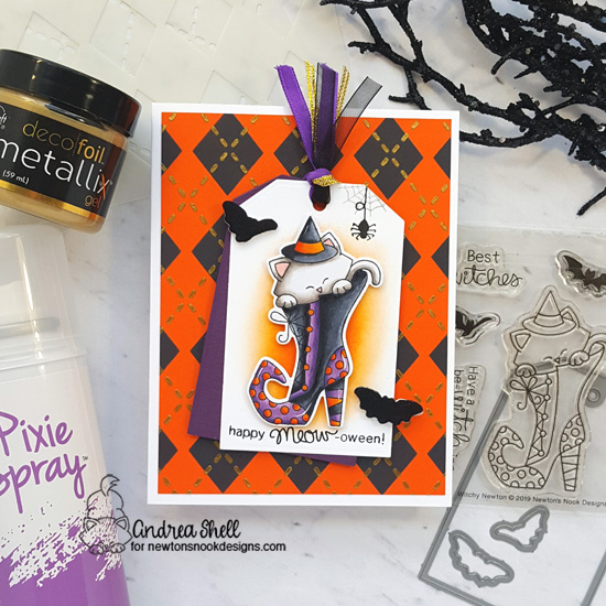 Newton's Nook Designs & Therm O Web Inspiration Week - Halloween card by Andrea Shell | Witchy Newton Stamp Set, Argyle Stencil Set and Fancy Edges Tag Die Set by Newton's Nook Designs | Flock Transer Sheets and Glitter Gel by Therm O Web #newtonsnook #thermoweb