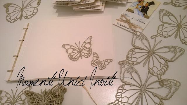 1a I coordinati nei toni del sabbia e del bianco burroColore Bianco Colore Sabbia Guest Book Partecipazioni con Perle Partecipazioni intagliate Partecipazioni shabby chic - country - vintage Portafazzoletti Tema Farfalle