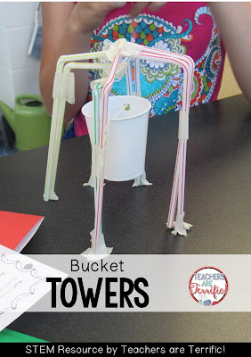 STEM Challenges: This amazing challenge uses one basic material- Straws! Add a few more items and see if your students can build a suspended bucket that will hold weight! HOw tall is a tower? This team sacrificed height for a bucket that would work!