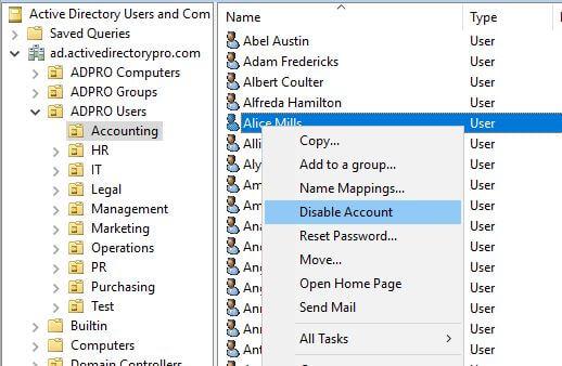 مثال 1: تعطيل المستخدمين الذين يستخدمون Active Directory Users and Computers