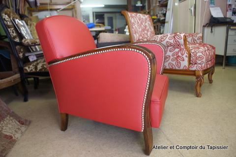 atelier et comptoir du tapissier fauteuil ann es 30 cuir. Black Bedroom Furniture Sets. Home Design Ideas