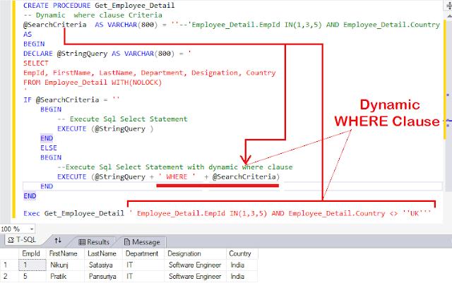 SQL Server Dynamic Stored Procedure