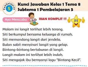 Kunci Jawaban Kelas 1 Tema 8 Subtema 1 Pembelajaran 5 www.jokowidodo-marufamin.com