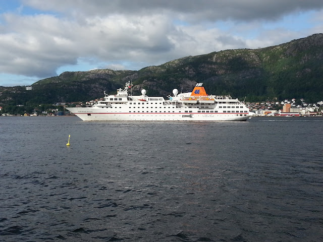 Luxury expedition cruise ship MS Hanseatic in Bergen, Norway; Hapag-Lloyd