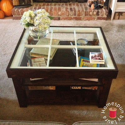DIY repurposed window coffee table - After