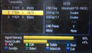 Penampakan Sinyal Frekuenis 11024 V 15675 Satelit Ses 9