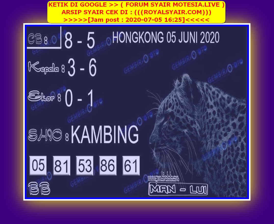 Kode syair Hongkong Minggu 5 Juli 2020 150