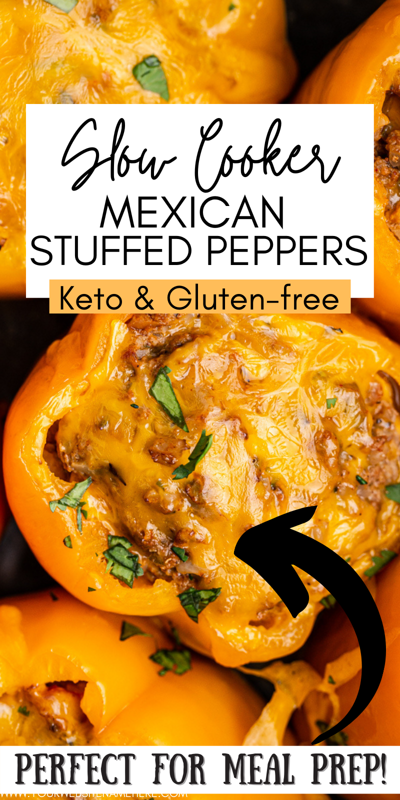 Keto Slow Cooker Mexican Stuffed Peppers - These keto Mexican stuffed peppers are the perfect set it and forget it dinner for Taco Tuesday, or any day. Cheesy and delicious, they are low-carb and gluten-free. #keto #lowcarb #glutenfree #slowcooker #crockpot #mexican #stuffed #peppers