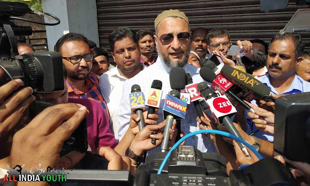 Asaduddin Owaisi with Media Personals High Quality Photo